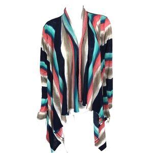 Boston Proper Asymmetrical Cardigan XL Multicolor